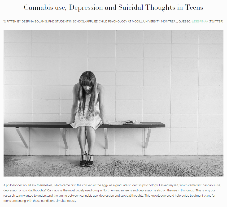 Cannabis use, Depression and Suicidal Thoughts in Teens