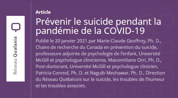 Prévenir le suicide pendant la pandémie de la covid-19